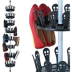 Deuba ® Zapatero telescópico | Giratorio 360 º grados | Hasta 96 zapatos | Con tuerca de fijación techo - suelo | Barra telescópica | Zapatero | Sistema de encanje | 8 niveles |