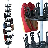 Deuba XXL Schuhregal Metall ausziehbar | Platz für 96 Schuhe | höhenverstellbar 80-280cm | drehbar Schuhkarussell Schuhständer Schuhschrank Teleskopregal