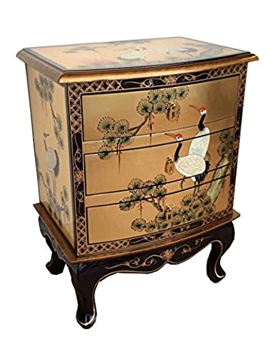 Chinese Oriental Furniture - Gold Leaf 3 Drawer Side Chest