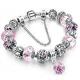 Tonver - Bracciale con charm realizzato a mano, placcato in argento sterling, con catena a spire; per donne e ragazze