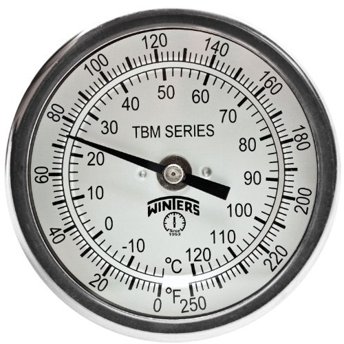 Winters TBM Series Stainless Steel 304 Dual Scale Bi-Metal Thermometer, 4 Stem, 1/2 NPT Fixed Center Back Mount Connection, 3 Dial, 0-250 F/C Range by Winters -