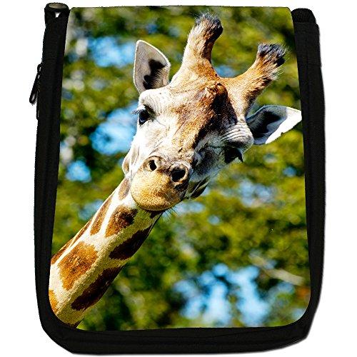 African giraffa Medium Nero Borsa In Tela, taglia M Giraffe Poking Head Round