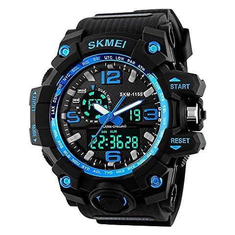 TTLIFE Waistwatch Mens Watch Big Dial Digital Watch Water Resistant Watch Date Calendar Sports Watches Stopwatch Alarm Watch Dual Time Display watch(blue)