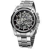 Casual Sport Uhr Automatisches Automatik-Uhrwerk Skelett Herren Mechanische Edelstahl Gürtel Armbanduhr + Geschenkbox