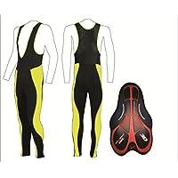 Mallas ciclismo ProAthletica Mens invierno térmica 3D culotte largo ciclo pantalones Leggings Black/Hi Vis Yellow Talla:M (81,3-86,4 cm)