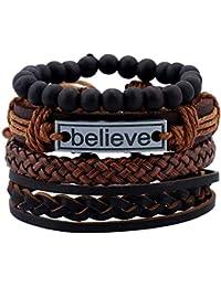 2e15afc3ff8368 Impression Latest Natural Stone Beads Inspirational Believe Words Fashion  Set of 4 Genuine Leather Multi Strand…
