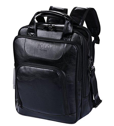 Imagen de videng polo  para portátil cuero negocio viajar colegio pantalón para 13 15 17 pulgadas negro v1