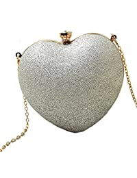 Vezela Hard Case Clutches For Women With Golden Chain Strap - Heart Shape Super Stylish Clutches For Girls