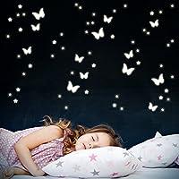 Wandkings Schmetterlinge und Sterne, 78 Sticker, extra starke Leuchtkraft, Wandsticker Leuchtaufkleber, Fluoreszierend und im Dunkeln leuchtend