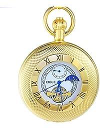 Ogle impermeable romano oro blanco fases y Tourbillon luna colgante collar cadena llavero esqueleto automático mecánico reloj de bolsillo
