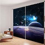 Eqwr Weltraum Galaxy Luxus Blackout 3D Vorhänge Für Wohnzimmer Bettwäsche Zimmer Büro Vorhänge H280 * W340 cm