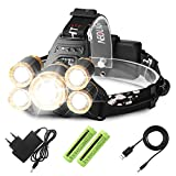 Luz Frontal Súper Brillante Recargable Impermeable 1*CREE T6+4*XPE 4 Modo de Linternas Front...