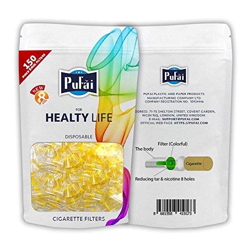 Zigarettenfilterhalter für Zigaretten normaler Größe, Einwegfilter 150 Stück reguläre Filter in einer wiederverwendbaren Packung von Pufai. (Kohle-faser-filter)
