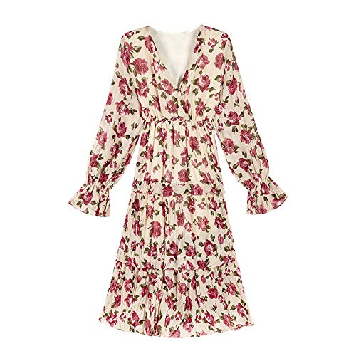 Floral Pleated Skirt (UOYJN Woman Dress In The Spring Long Section Over The Knee V-Neck Waist Pleated Print Dress Female Seaside Resort Beach Skirt)