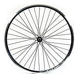 Wilkinson Front Wheel 36 Hole Hybrid Black Double Wall Rim, V-Brake, Quick Release AX-Largee Hub, Black Spokes - 700C, Black