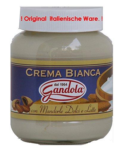 Gandola Fioretta crema Bianca con Mandorle Dolci e latte 4 x 350g = 1400g ist ein süßer Brotaufstrich aus fein zerkleinerten Mandeln und Milch -