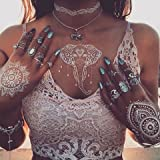 Divawoo 6 Blatt Weiß Henna Tattoo,Temporäre Tattoos,Mehndi Henna-Körperfarben,Frauen Mädchen Designs, Flash Tattoos für Vibe Musik Festivals Bohemian