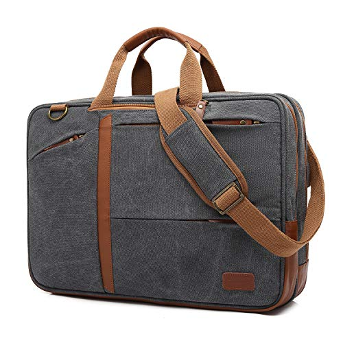 CoolBell 17,3 Zoll umwandelbar Aktentasche Rucksack Messenger Bag Mehrzweck Umhängetasche Business Travel Backpack Notebook Schultertasche Laptop Tasche für Laptop Herren(Canvas Grau) -
