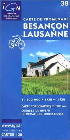 Carte touristique : Besançon - Lausanne par Cartes Top 100 IGN