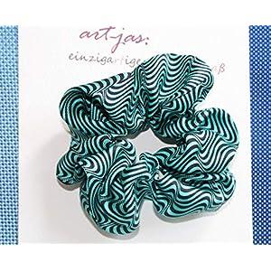 Haargummi Seide Kollektion Geometric türkis Seidenhaargummi scrunchie Haar-Accessoire Frauen Mädchen Stoff designer scrunchie – einzigartiges & maß