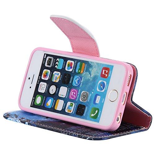 CaseHome iPhone SE/5S/5 Mode Elegant PU-Leder Etui (Mit freiem HD Schirm-Schutz) Bunt Stilvoll Stand-Funktion Geprägtes Muster Gedruckt Entwurf Stoßfest Anti-Rutsch PU-Leder Fall Abdeckung Schale Haut Schwimmen-Junge