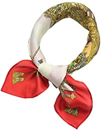 f8a2c98584f48b Donna Stampato Seta Foulard Quadrato fazzoletto da collo Donne Piccolo  Sciarpa Seta Vintage Bandana Collo Sciarpa