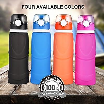 Jerrybox Faltbare Trinkflasche Medizinisches Silikon Wasserflasche 0,75l, BPA frei, FDA Geprüft, Tragbare und Auslaufsichere Sportflasche für Outdoor, Reisen, Radfahren, Wandern, Camping und Picknick
