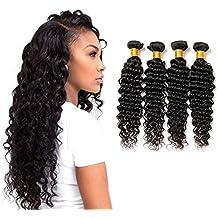 9fb18cb23a9d tissage bresilien lot de 4 tissage deep curly 10a real cheveux bresilien  tissage human naturel lisse
