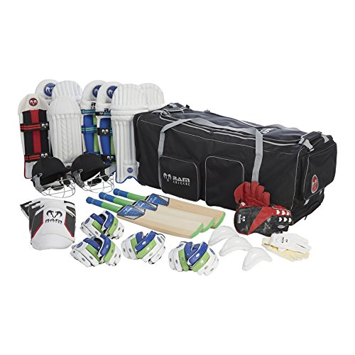 Cricket-bundle (RAM Cricket Challenger Team Kit Bundle - Senior - Fledermäuse, Pads, Handschuhe, Helm & Tasche)