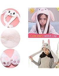 bd001ce2209 1pc drôle bonnet de lapin en peluche animal chapeau bonnet de lapin avec  les oreilles sautant