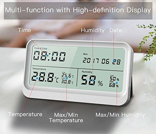 Digitales Thermo-Hygrometer, AngLink 16:9 LCD Breitbild Monitor Thermometer Hygrometer mit Datum und Uhrzeit, Luftfeuchtigkeitsmesser mit Magneten und Klappständer (Weiß) - 4