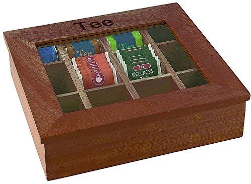 APS Grande boîte à thé avec 12 compartiments env.30 x 28 cm, hauteur 9 cm, rouge-brun, boîte en bois avec fenêtre en acrylique.