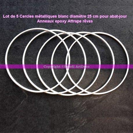Lot de 5 Cercles métalliques blanc diamètre 25 cm pour abat-jour, Anneaux epoxy Attrape rêves