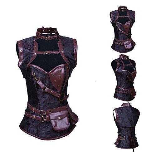 FeelinGirl Damen Korsett mit Stahlstäbchen Brokatmuster Vollbrustkorsett mit Jacke und Gürtel Korsage Halloween Braun XL