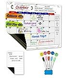 MIGE Magnetischer trocken abwischbarer Whiteboard Kalender, magnetische Notiz, 5 löschbare Markierstifte, 5 Smiley-Magneten und 1 trocken abwischbarer Radierer einsetzbar in der Küche