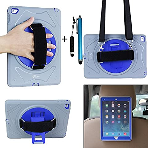 Cellular360 Apple iPad Air 2 Shockproof Case, Headrest Mount Holder with a 360 Degree Swivel Stand, a Hand Grip Handle and a Shoulder Strap (Gray and Blue)