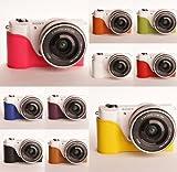 10 Farbe! Echte Handgemachte Hartledertasche Kamera Leder Hälfte Case Tasche Hülle für Sony A5000 A5100 (Bitte hinterlassen Sie eine Nachricht, welche Farbe Sie bevorzugen)
