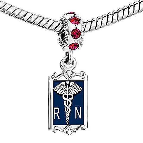 Uniqueen Nurse RN Registered Caduceus Photo Dangle Charm Beads For Bracelets