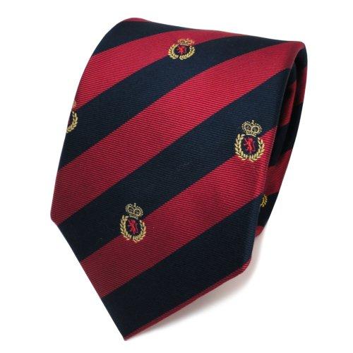 TigerTie Designer Seidenkrawatte rot blau royal gold gestreift Wappen - Krawatte Seide