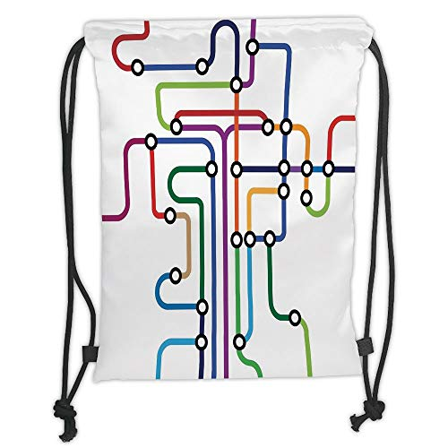 LULUZXOA Gym Bag Printed Drawstring Sack Backpacks Bags,Map,Colorful Abstract Subway Map Lines and Dots Navigation Guide Modern Underground Railway Decorative Moderne Guide