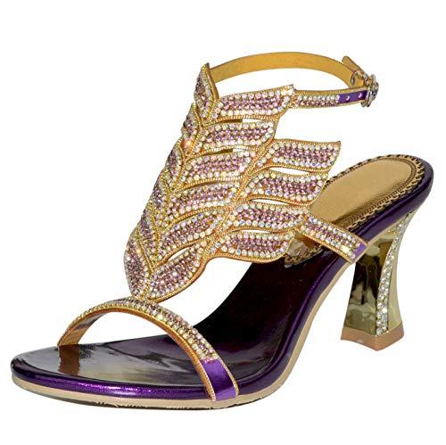Suetar Elegantes luxuriöses Damen 8CM Louis Heel Knöchel Armband mit Diamanten besetzten Hochzeits Sandalen GS-L006