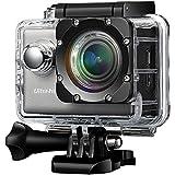 VicTsing Action Caméra Wifi avec Résolution 4 K Caméra Voiture Imperméable avec 64 G TF et 170° Lentille UHD Vidéo Sport Étanche Jusqu'à 30 M) Avec un Écran LCD Pour Moto Ski Vélo Sport Extérieure Argent