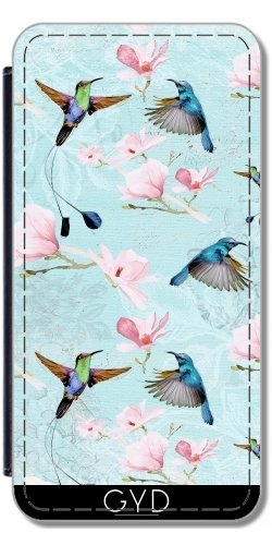Leder Flip Case Tasche Hülle für Apple iPhone 6 Plus / 6S Plus - Kolibri Colibri Blumen by UtArt Lederoptik