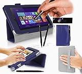 Acer W3-810 Tablet Case / Tablet Case / Schutzhülle in MARINEBLAU mit integrierter Standfunktion ( PropUp Stand ) & Handschlaufe ( Hand Strap ) von G-HUB® - PropUp Stand Hülle / Fall / Tasche / Folio für Acer W3810 ( Alle 8,1 Zoll Modelleeinschließlich: 32GB / 64GB / 3G / LTE / BlueTooth / WiFi / 2013 modèle , etc. ) Jetzt mit BONUS: G-HUB ProPen Stylus