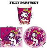 Filly Partyset Partygeschirr Becher Teller Servietten 36 Teile Geburtstag Party