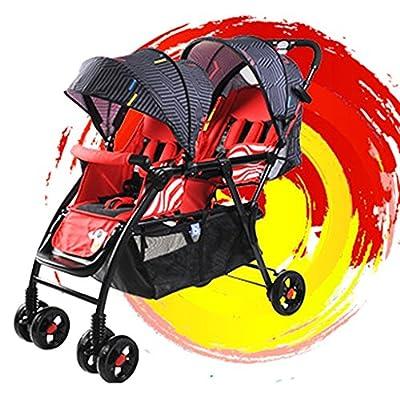 QQB &Carro Plegable Cochecito de bebé Segundo niño Coche Doble Antes y después del niño Grande Puede Sentarse Antes de acostarse Dos niños Ligeros