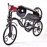 GQFGYYL Schmiedeeisen Wein Halter/Rack Bike Form Dreirad Art Home Décor (schwarz) Schwarz