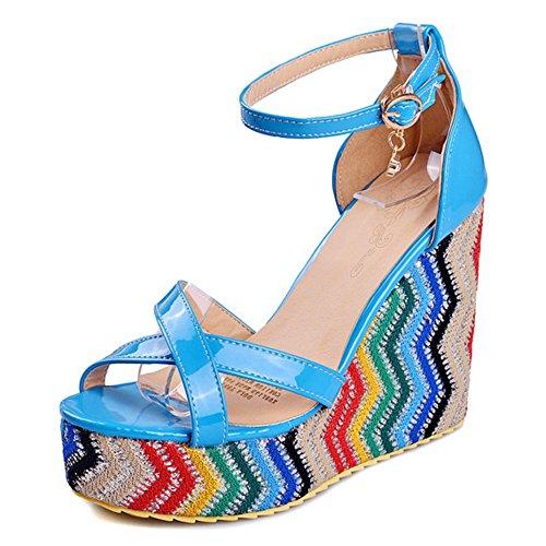 COOLCEPT Femmes Mode Cheville Sandales Orteil ouvert Compenses Chaussures Bleu