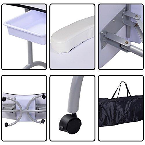 Tisch klappbar – Tragbarer Nageltisch mit Tasche und Handgelenkauflage - 8