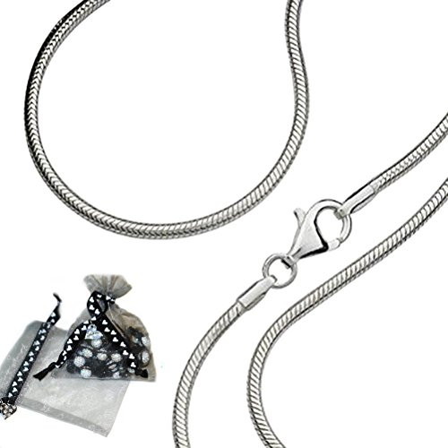 Carolina Meyer® 925 Solid Sterling Silver Snake Chain 1mm Thickness: 24inch/60cm-1mm-Snake-Chain Length ,With Lobster Clasp